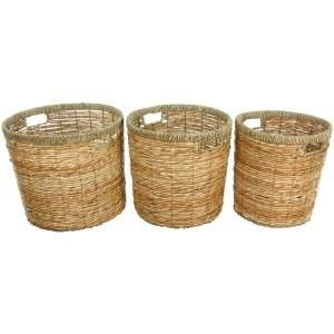Oriental Furniture 14.25 in. x 12.5 in. Rush Grass Set of Three Round Waste Bins-WV-1357 - The Home Depot