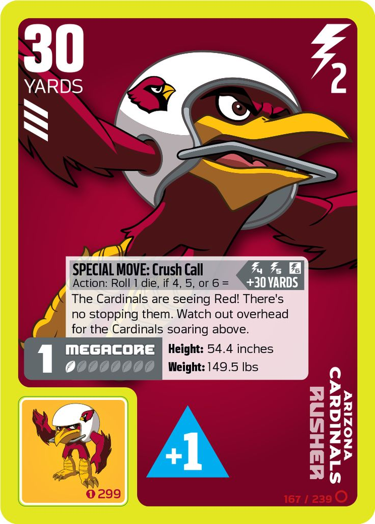 Arizona Cardinals Rusher card from the NFL RUSH ZONE Trading Card Game Kickoff Series 1 has the PowerSticker affixed to give extra offensive and defensive boosts during game play #Cardinals #ArizonaCardinals #NFL #Rusher #NFLrushzone #RushZone #tradingcardgame #NFLRUSHZONETradingCardGame #superbrandnew #MattCullen