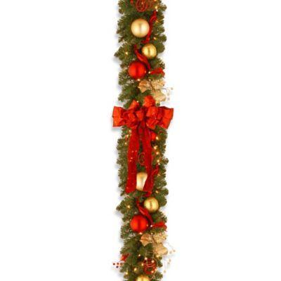 National Tree Decorative Collection 9-Foot Cozy Christmas Garland Pre-Lit with 100 Lights - BedBathandBeyond.com
