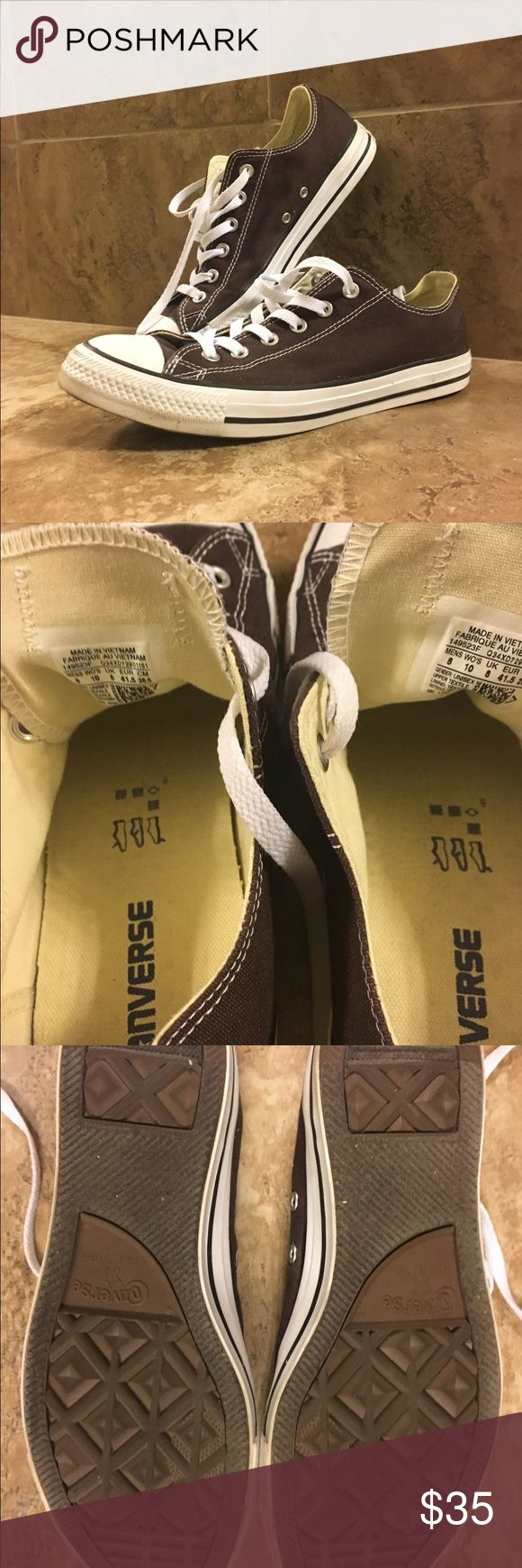 Brown Converse All Star Low Top Sneakers These Brown Low Top Converse All Stars are in excellent condition. They've once been worn once or twice. Soles are almost flawless!  US Size Women's 10/Men's 8 Converse Shoes Sneakers