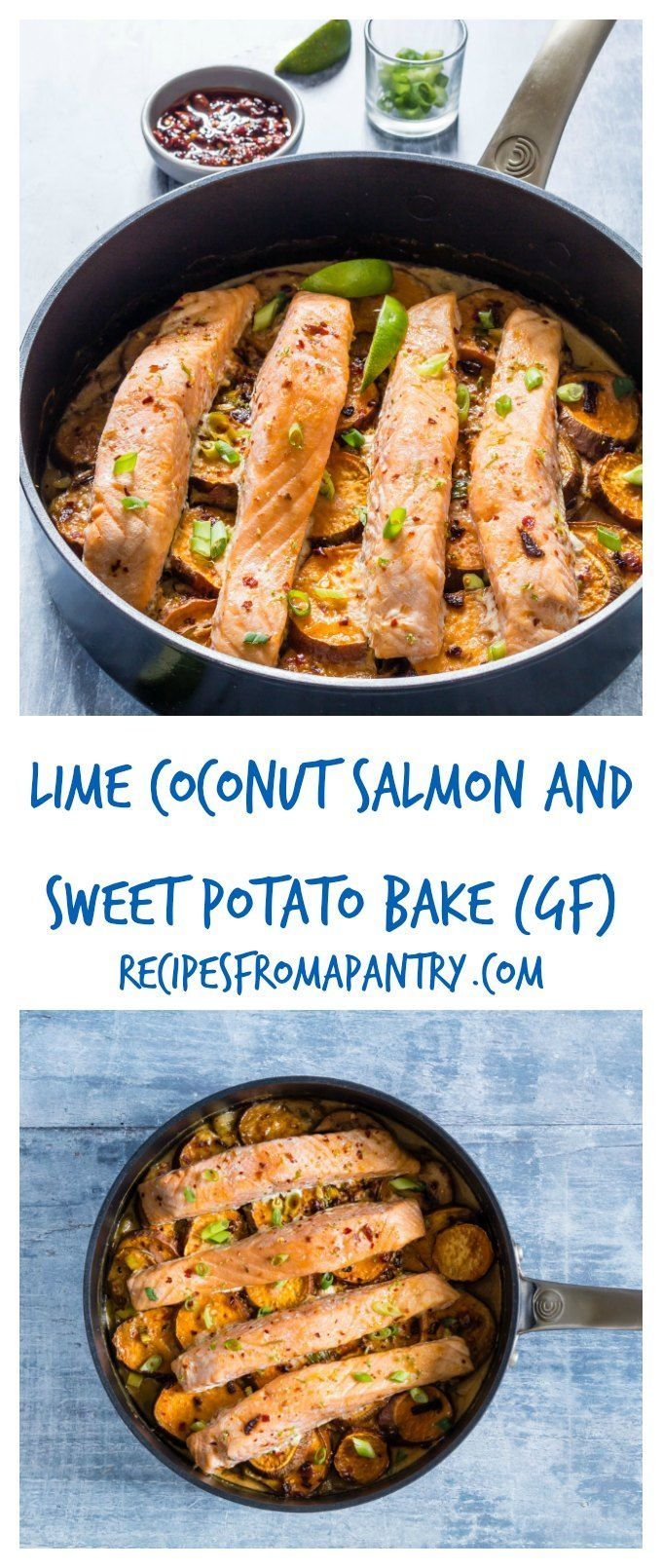Need a quick easy weeknight dinner - then try this coconut lime, sweet potato and salmon bake (gluten-free). recipesfromapantry.com