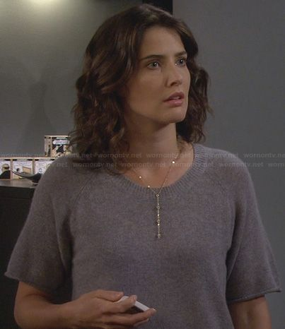 Robin's grey short sleeve sweater on How I Met Your Mother.  Outfit Details: http://wornontv.net/23613/ #HIMYM