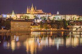 Прага, Ночь, Город, Замок, Дом, Огни