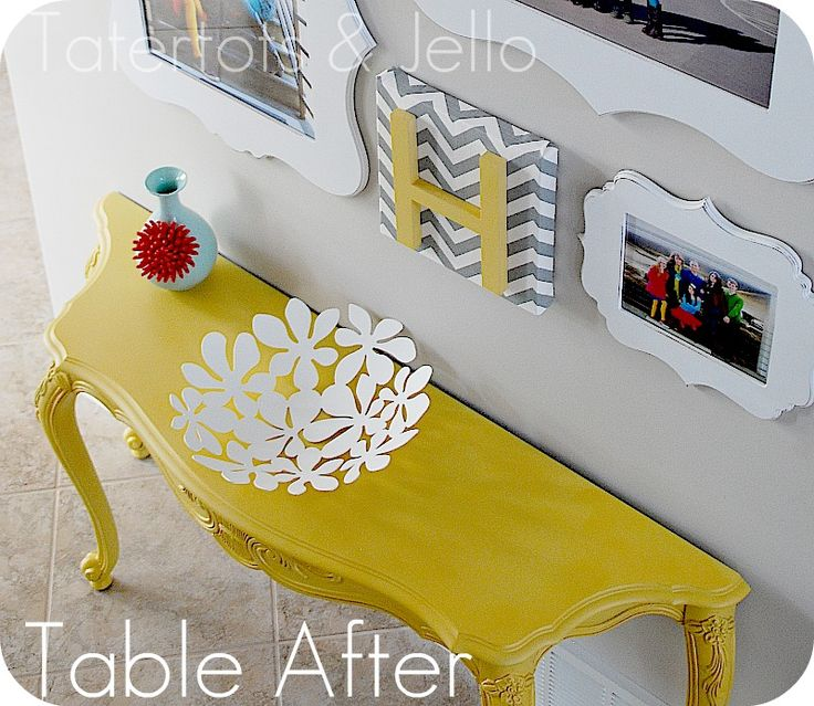 Painted Furniture.  Yellow, white, gray color scheme.