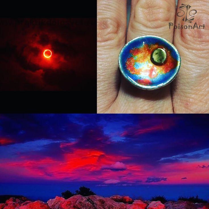 "Ring ""Sunset"", silver 999, gold 24k, hot enamel."