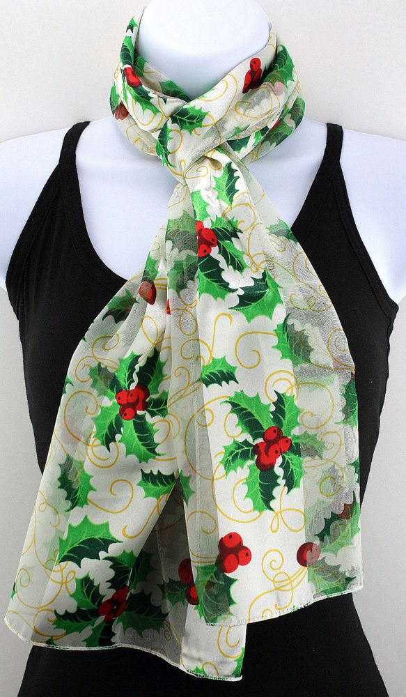 New Holly Berry Womens Christmas Holiday White Gift Scarf Scarfs Ladies Scarves #TiesJustForYou #Scarf