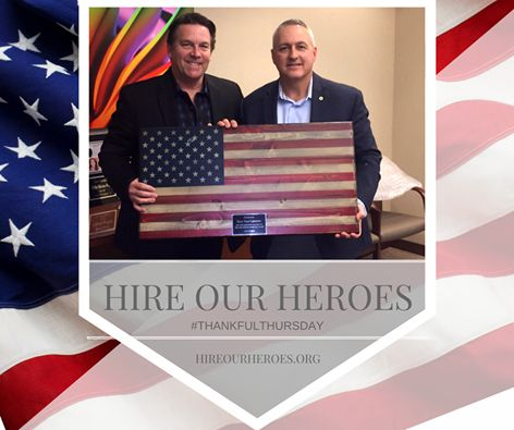 Tim Kirk presented HighTechLending, Inc's President Don Currie a plaque of appreciation for generous donations to Hire Our Heroes. Our team leader, Tim Kirk, is a co-founder of Hire Our Heroes, a non-profit organization committed to assisting veterans in transitioning to a career in the workforce after serving our country. By choosing the Tim Kirk Team of real estate professionals you are helping this organization flourish. The Tim Kirk Team also helps active military with relocation.