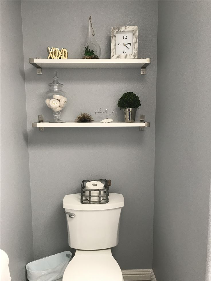 Shelves decor above toilet. White and gray bathroom redo.   – For the Home – #ba…   – most beautiful shelves