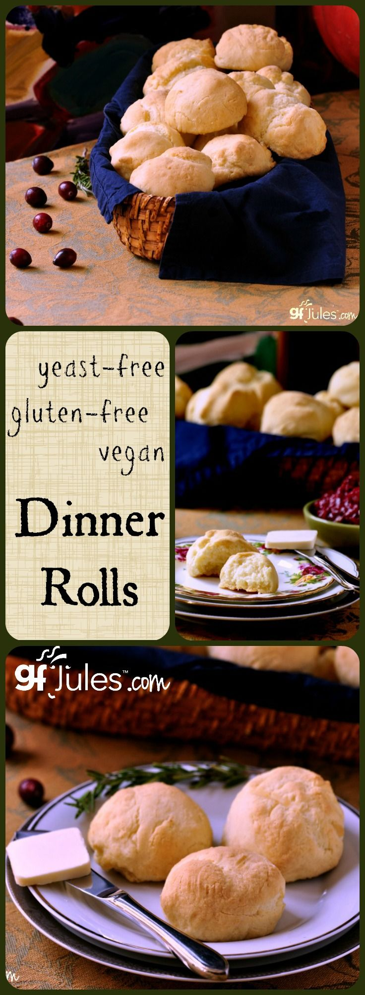 Amazingly light dinner rolls for Thanksgiving or any other meal where you need yummy bread! Gluten-free & Yeast-free & Vegan! #glutenfree #yeastfree #vegan dinner rolls  - gfJules