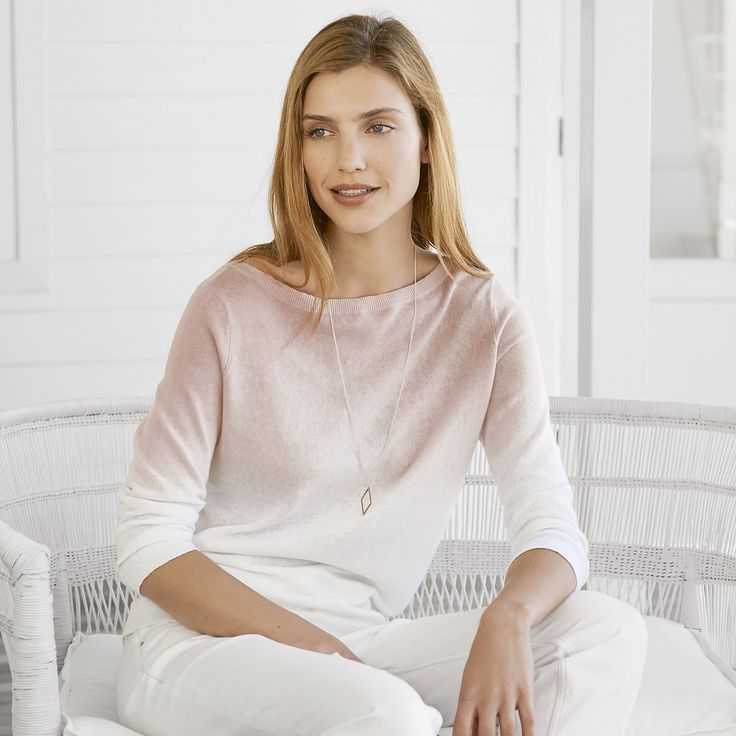 The White Company US. Dip Dye Boat Neck Sweater |  A stylish new staple knit for your warm-weather wardrobe, this statement dip-dye jumper is made a lightweight blend of cotton and linen and has a cross-over detail on the neckline.Pinning from the UK? -> http://www.thewhitecompany.com/clothing/knitwear/jumpers/dip-dye-boat-neck-jumper--white/