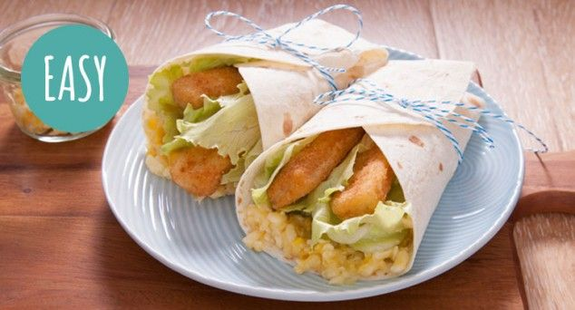 Get the kids to help make these easy Fish Finger Wraps!  #fish #recipe #lunch