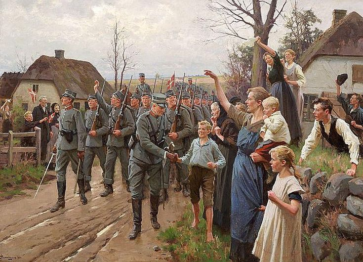 Erik Henningsen (1855-1930): Danske Soldater gaaer over Dybbøl Torsdagen den 6te Maj 1920