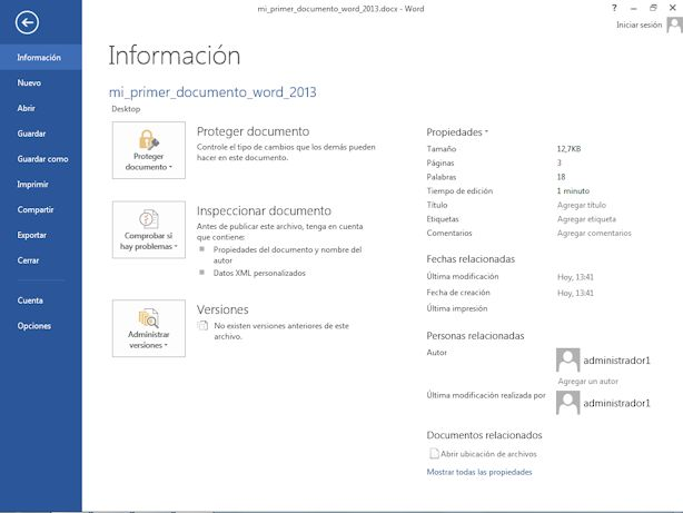 Introducción a la ficha Archivo de Word