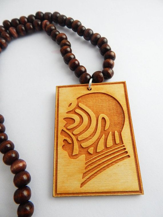 African Warrior Necklace Wood Beaded Jewelry African Mens Jewelry