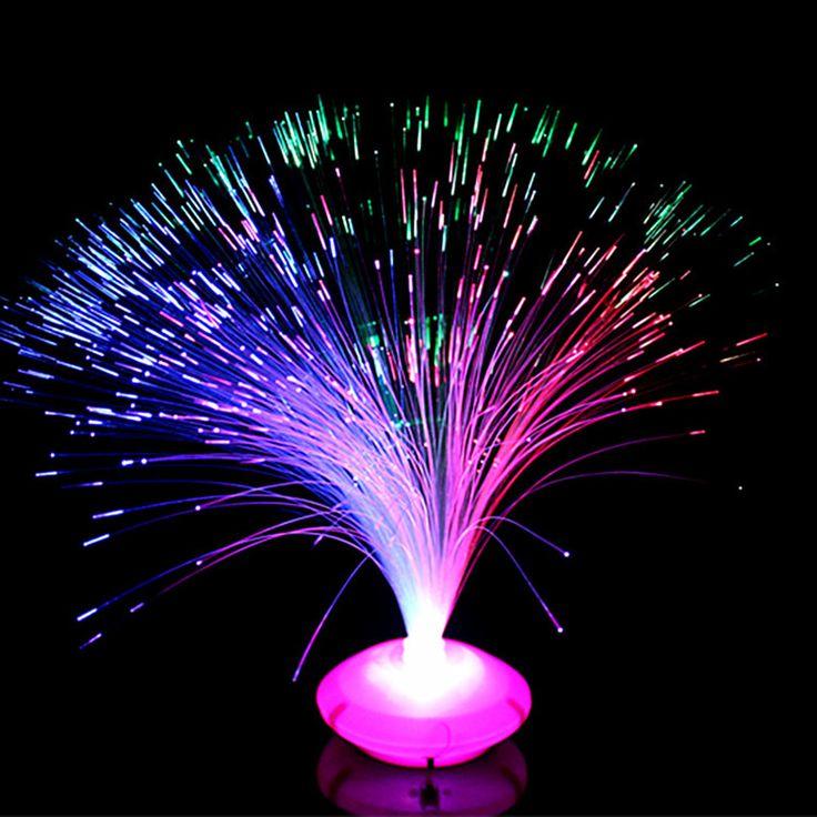 グレートプロモーション1ピース多色変えるledファイバー常夜灯ランプ小さな夜の光カラフルな光ファイバーランプ工場卸売
