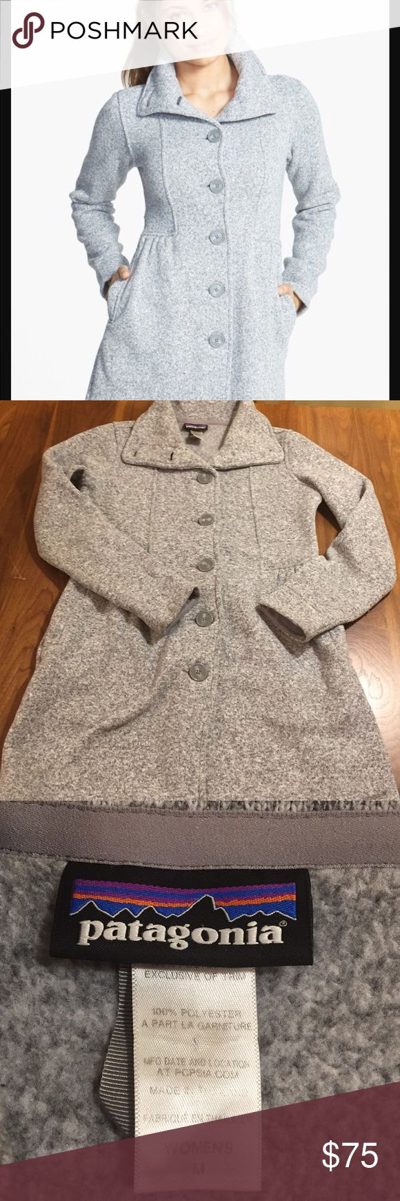 """Patagonia Better Sweater Coat Heathered grey. A tall cozy collar and shape-defining shirred waistband style a city-smart coat designed with a polished sweater-knit exterior and heat-retaining fleece interior. Front button closure. Double-layer collar. Side pockets.19"""" across bust. 32"""" length. Excellent condition. Patagonia Sweaters"""
