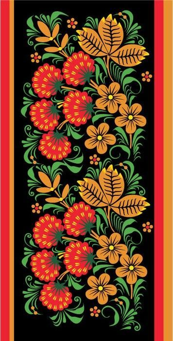 Folk Khokhloma painting from Russia. Pattern with berries, leaves and flowers.