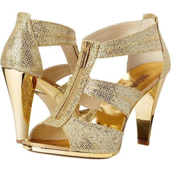 MICHAEL Michael Kors Berkley T Strap High Heels, Gold (400 VEF) ❤ liked on Polyvore featuring shoes, sandals, gold, chunky high heel sandals, high heel sandals, polish shoes, t bar shoes and t strap shoes