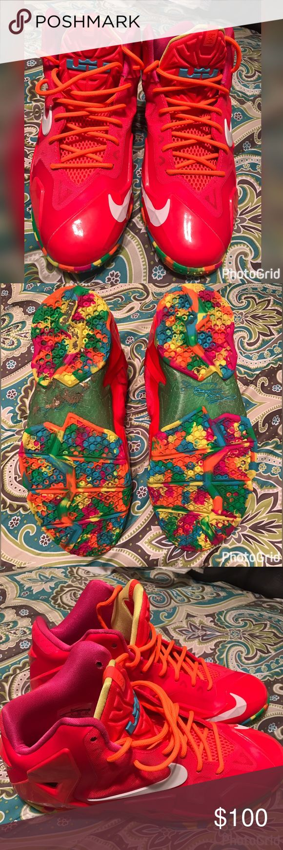 """Lebron James 11's """"Fruity Pebbles"""" Youth Lebron James 11's  Fruity Pebbles Youth Limited Edition EUC! Barley worn, cleaning out my son's shoe closet. Super fly! 🙅🏼No Trades 🤦🏼♀️ No Holds! Happy 🎉Poshing! Nike Shoes"""