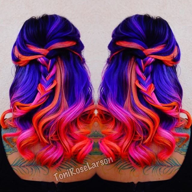neon mermaid hair color by neon purple hair neon blue hair neon pink
