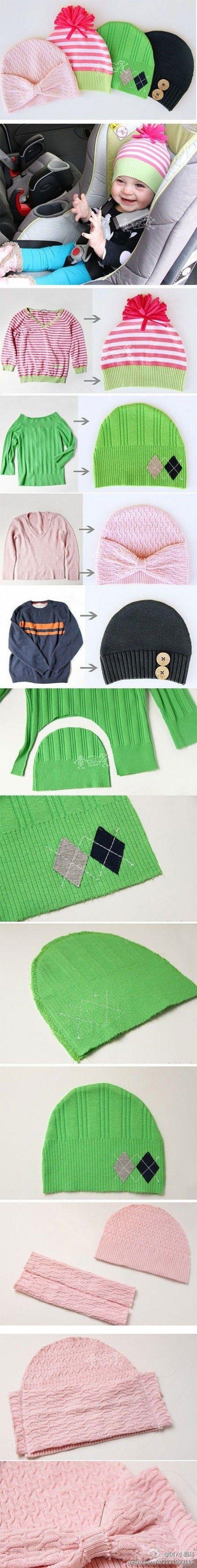 leuk en simpel mutsjes maken van een oude trui
