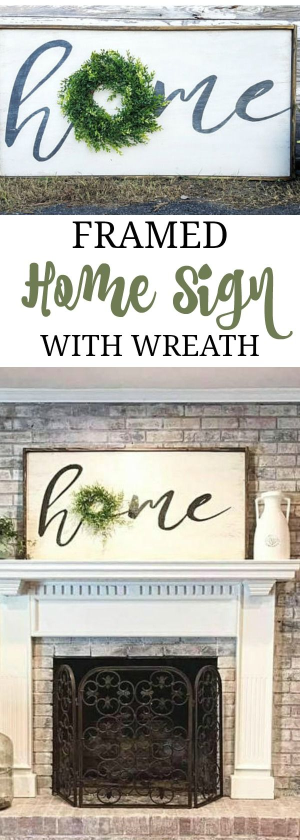 Another beautiful home sign from etsy! Elegant, yet rustic. Extra large Home sign with wreath, Large Home sign, Farmhouse Decor, Rustic Decor, Neutral Black/White Wooden Sign with wreath accent #oybpinners #ad