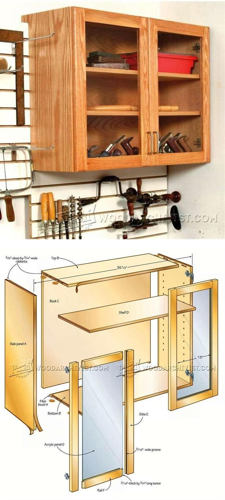 Hand Tool Wall Cabinet Plans - Workshop Solutions Plans, Tips and Tricks   WoodArchivist.com
