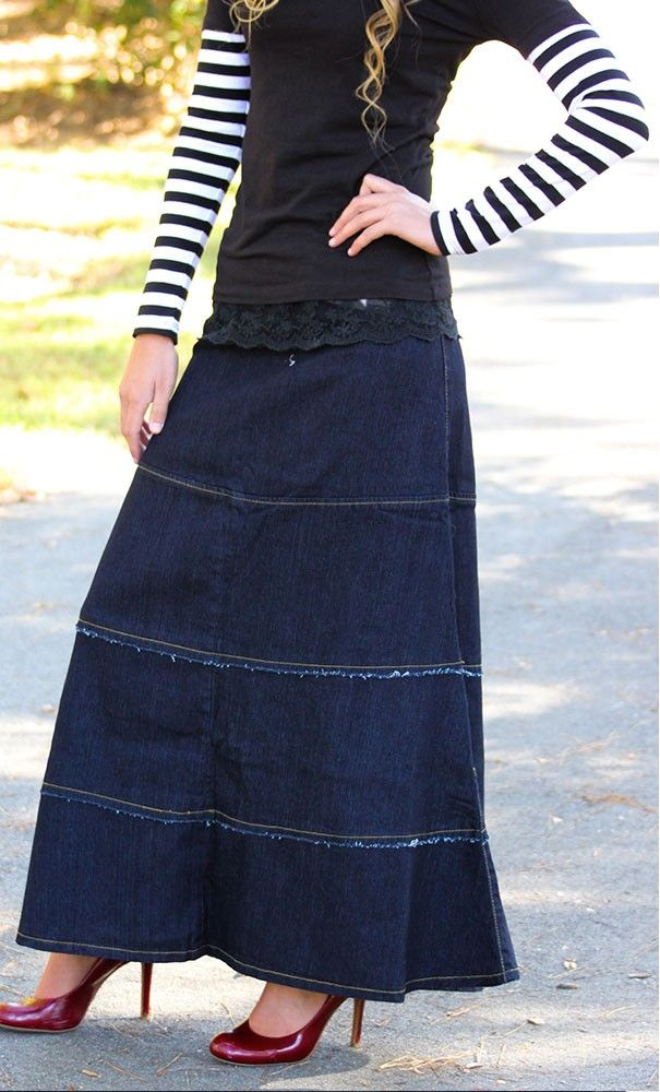 Gwen is an A-line modest maxi denim with horizontal stitched tiered finish available in S-XL