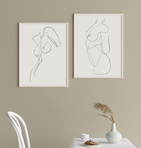 Printable One Line Abstract Nude Set of 2, Female Line Art, Woman Single Line Sketch, Feminine Minimal Wall Art, Body Figure Naked Prints – Julia Leffler