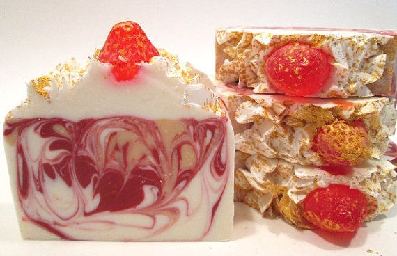 Champagne and Strawberries Soap Handmade Cold by GlowBodyandSoul