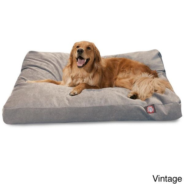 Majestic Pet Grey Villa Collection Large Extra Dog Rectangle Bed With Removable Washable