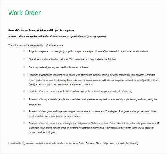 Work Order Template Word Fresh 11 Microsoft Word 2010 Free Order