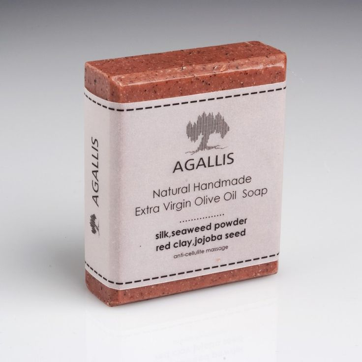 """Agallis"" Greek Olive Oil Soap with Red Clay and Silk at wholesale price.  Soap made of extra virgin olive oil with red clay, seaweed and jojoba granules blend.   It is ideal for peeling, cleaning, tightening and detoxification of the body, as well as to combat cellulite. It is recommended for use on oily skin."