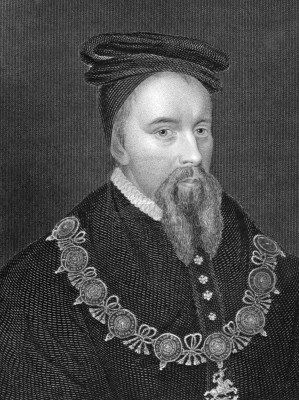 The slippery Thomas Stanley (1435-1504) in an engraving from 1838. He was ostensibly a Yorkist, loyal to Edward IV and then Richard III. But he was married to Margaret Beaufort, making him the stepfather of Henry Tudor, the Lancastrian heir. At the battle of Bosworth, Stanley kept his men off to the side, safely out of the action. At the last moment, he betrayed Richard and supported his stepson. It was widely thought at the time that this tipped the balance in Henry's favour. Treachery!!