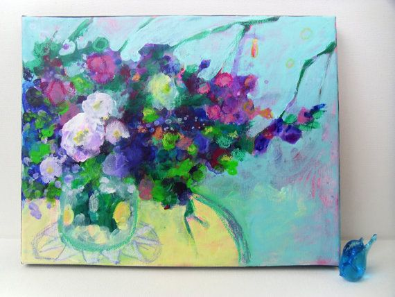 Floral Still Life Original Abstract by kerriblackmanfineart SOLD