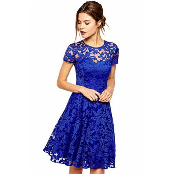 Women's Women Round Neck Short Sleeve Pleated Lace Slim Dress ($8.99) ❤ liked on Polyvore featuring dresses, blue, lacy dress, short sleeve dress, round neck lace dress, slimming dresses and pleated lace dress