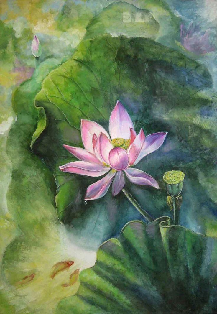 Jiang Debin, 1963 ~ Lotus watercolor | Tutt'Art@ | Pittura * Scultura * Poesia * Musica |