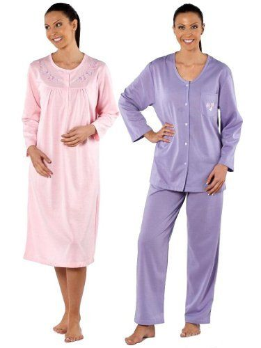 """""""Pippa"""" 110cm Long Sleeve Round Neck Nightdress. 3 Dtm Button Front Placket Opening. Contrast Embroidery To Both Sides Of Chest. Composition: 100% Polyester - Brushed Interlock - 180 Gsm"""