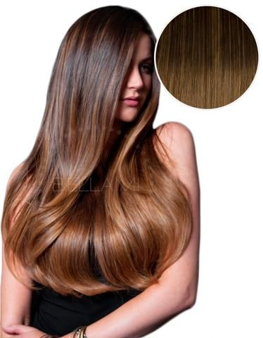 """Balayage 160g 20"""" Ombre Hair Extensions #2 Dark Brown/ #6 Chestnut Brown"""
