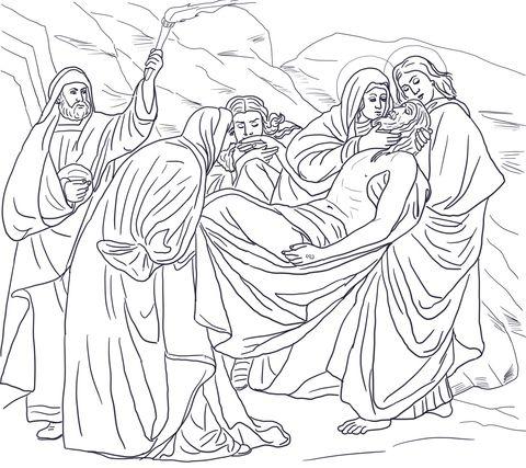 Quattordicesima stazione - Il corpo di Gesù è deposto nel sepolcro Disegno da colorare