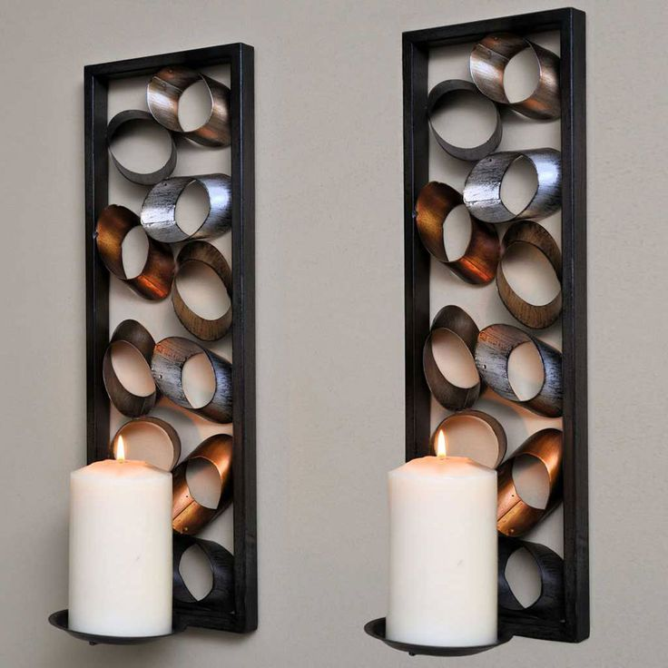 Merveilleux Accessories: Marvelous Large Wall Candle Sconces With Cutting Pipe .