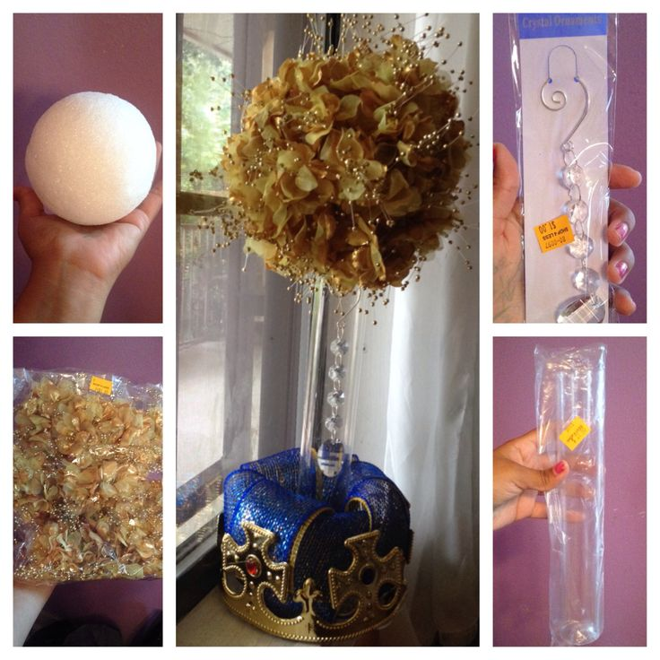 Gold floral centerpiece for Royal Prince baby shower theme .50 styrofoam ball $1.50 bag of golden mini flowers that I cut and inserted on ball With all the other items the same price as blue floral centerpiece pin I put up :) total cost= $5-7 for elegant look