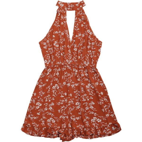 High Neck Cut Out Floral Print Romper (£12) ❤ liked on Polyvore featuring jumpsuits, rompers, floral romper, romper jumpsuit, brown jumpsuit, floral rompers and cut out jumpsuit