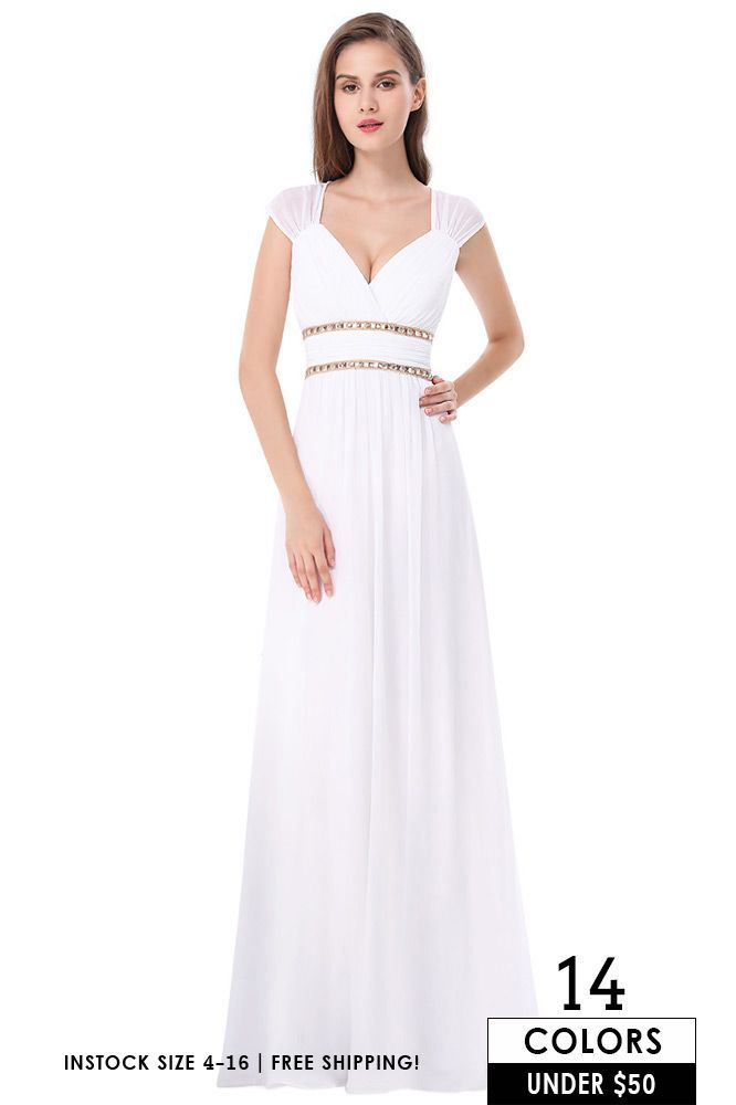 Empire V-neck Floor-length Chiffon Formal Dress With ...