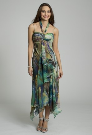 Be bohemian with a popular style.  This beautifully flowy chiffon dress has a colorful print with a handkerchief hem and bandeau halter encrusted in the center with jewels.  Wear it perfectly for a Day Party, Guest of Wedding, Homecoming, Cocktail Party or any special occasion.Dress it up with high heel rhinestone sandals, a pleated satin handbag with fireball top closure in a contrasting color to create drama and a fabulous pair of open teardrop casted earrings.