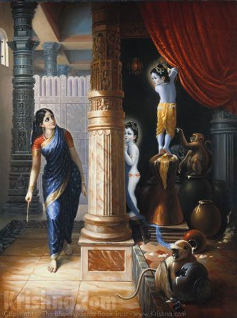 Sometimes Krishna & Balarama would enter the homes of the gopis & steal butter, milk & curd.They would eat & drink & feed the monkeys until they had their bellies full.Thus the gopis would complain to Mother Yashoda about Krishna's activities.Actually the gopis were so attracted to Krishna,that they could not chastise Him.They simply enjoyed discussing & hearing about His activities. Ch 8.Artwork courtesy of The Bhaktivedanta Book Trust International, Inc. (www.krishna.com) Used with…