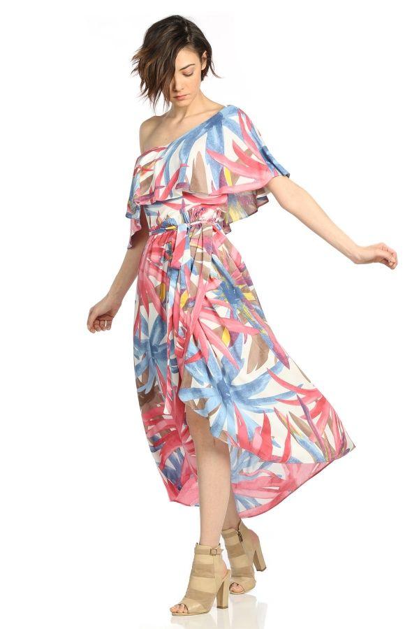 6ee189432e4fa Desenli Viskon Uzun Elbise - Kapıda Ödemeli Ucuz Bayan Giyim Online  Alışveriş Sitesi ModiVera