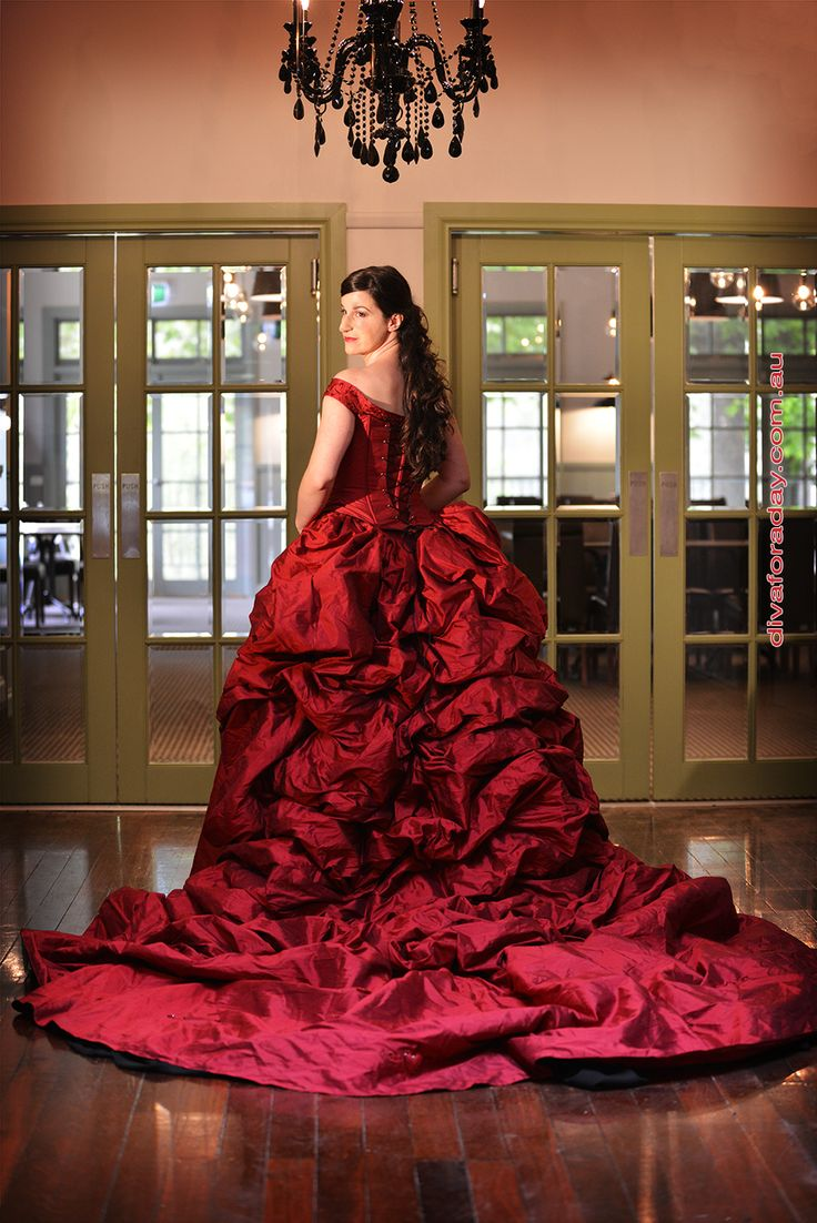 Red Ruby Silk Taffeta gown Ian Stuart more information www,weddingandformalgowns.com