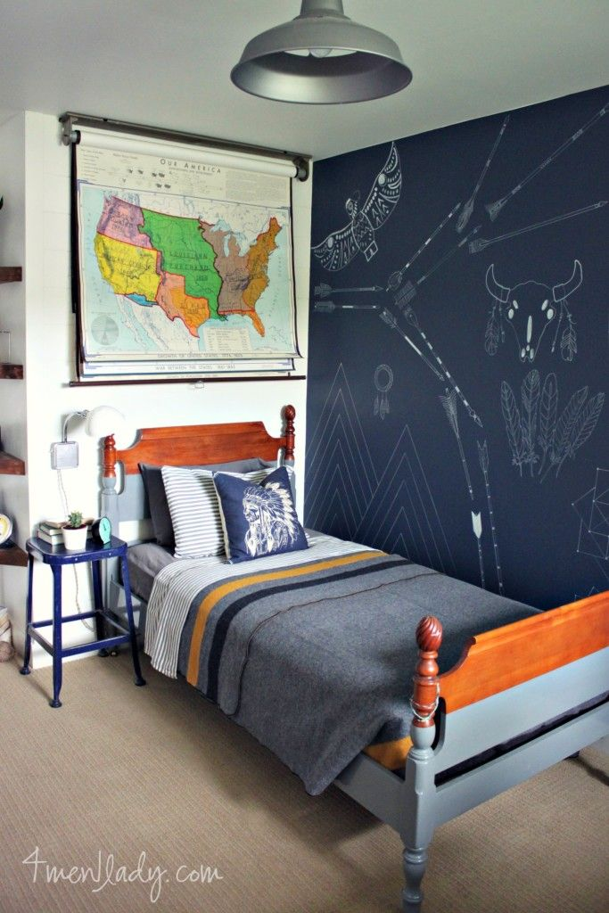 I love this academic and fun boy 39 s room the dark accent for Boys room accent wall
