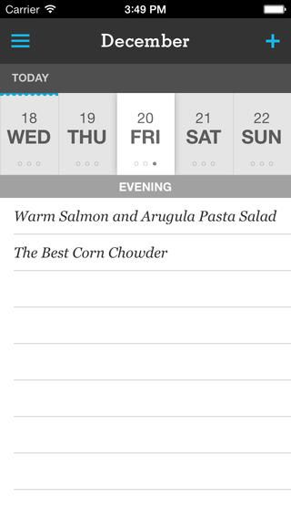 Meal planning on the calendar